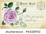 vintage postcard with a rose.... | Shutterstock .eps vector #94328953