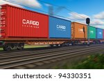 freight train with cargo... | Shutterstock . vector #94330351