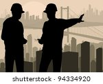 Engineer watching building process in city vector background - stock vector