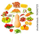 circle with lots of food items | Shutterstock . vector #94340725