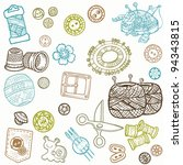 sewing kit doodles   hand drawn ... | Shutterstock .eps vector #94343815
