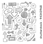 hand drawn arrows set. vector... | Shutterstock .eps vector #94343968