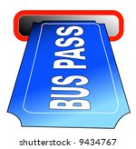 bus pass going into slot  ... | Shutterstock .eps vector #9434767