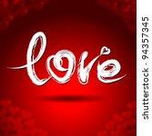 "vector freehand letters ""love""  ... | Shutterstock .eps vector #94357345"