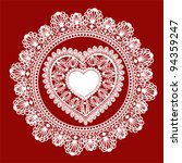 lace heart  on red background. ... | Shutterstock .eps vector #94359247