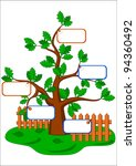 cartoon oak tree and blank... | Shutterstock .eps vector #94360492