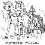vector   horse carriage  hand... | Shutterstock .eps vector #94366267