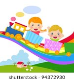 boy and girl on train | Shutterstock .eps vector #94372930