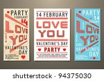 set of valentine's day party... | Shutterstock .eps vector #94375030