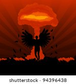 Death angle in front of atomic explosion cloud formed mushroom - stock vector