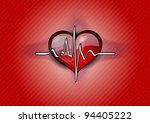 red heart with pulse rhythm   Shutterstock .eps vector #94405222