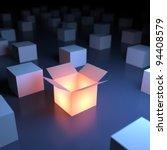 unique luminous opened box. 3d... | Shutterstock . vector #94408579