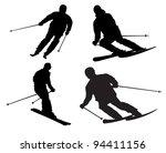 skier silhouette on white...