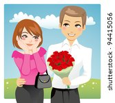 Stock vector portrait of a handsome man surprising a beautiful woman giving a red rose bouquet as love present 94415056