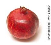 Pomegranate isolated on a white studio background. - stock photo