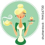 waitress holding teapot and...   Shutterstock .eps vector #94416730