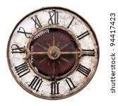 old antique clock isolated on...