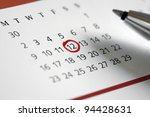 Circle marked on a calendar concept for an important day or reminder - stock photo