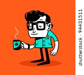 drowsy nerd. vector... | Shutterstock .eps vector #94431511