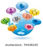 social media concept globe... | Shutterstock .eps vector #94438105