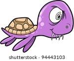 Crazy Insane Summer Sea Turtle Animal Vector Illustration - stock vector