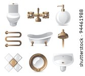 9 vintage styled bathroom icons   Shutterstock .eps vector #94461988