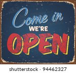 Vintage Tin Sign   Open Sign  ...