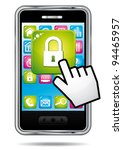 smartphone with hand cursor... | Shutterstock .eps vector #94465957