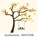 Vector Tree With Birds