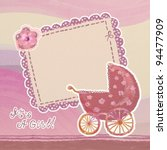 baby girl arrival card with... | Shutterstock . vector #94477909