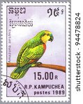 Small photo of CAMBODIA - CIRCA 1989: A stamp printed in Cambodia shows Amazona aestiva or Blue-fronted Amazon, series is devoted to parrots, circa 1989