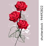 background with bright red roses | Shutterstock .eps vector #94492822