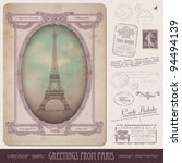 vintage postcard and paris... | Shutterstock .eps vector #94494139