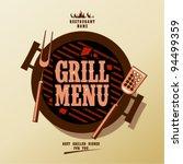 grill menu card design template. | Shutterstock .eps vector #94499359