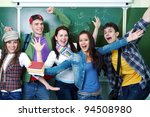group of young students having... | Shutterstock . vector #94508980