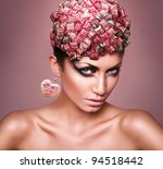 woman with candies in head - stock photo