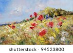 Red Poppies Painted On A Summer ...