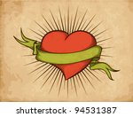 heart with ribbon in tattoo... | Shutterstock .eps vector #94531387