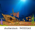 ocean underwater world cartoon. ...