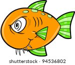 Crazy Insane Fish Ocean Vector Illustration - stock vector