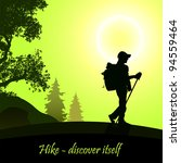 hiking man with rucksack   Shutterstock .eps vector #94559464