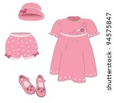 Set Of Isolated Baby Girl Pink...