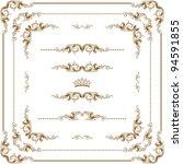 vector set of gold decorative... | Shutterstock .eps vector #94591855