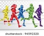Marathon Runners In Colorful...