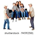 men carrying a sofa with a... | Shutterstock . vector #94592581