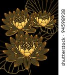 Three Gold Water Lilies On A...