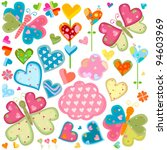Love Butterflies And Flowers Set