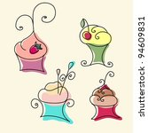 bright colorful cakes with a... | Shutterstock .eps vector #94609831