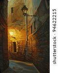 medieval street in gothic quarter of barcelona, painting, illustration - stock photo