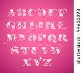 elegant floral alphabet | Shutterstock .eps vector #94630393